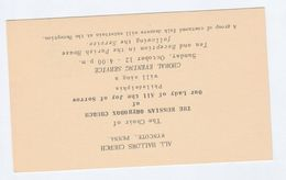 Old USA Postal STATIONERY CARD Re RUSSIAN ORTHODOX CHURCH CHORAL EVENING All Hallows Wyncote Penn Cover Stamps Religion - Christianity