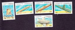 Cambodia, Scott #1379-1383, Mint Hinged, Submarines, Issued 1994 - Cambodia