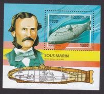 Cambodia, Scott #1384, Mint Hinged, Submarines, Issued 1994 - Cambodia