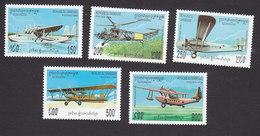 Cambodia, Scott #1391-1395, Mint Hinged, Planes, Issued 1994 - Cambodge