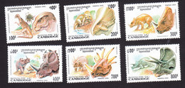 Cambodia, Scott #1409-1414, Mint Hinged, Dinosaurs, Issued 1994 - Cambodge