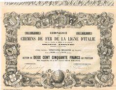 Action Ancienne - Compagnie Des Chemins De Fer De La Ligne D' Italie -Titre De 1856 - Railway & Tramway