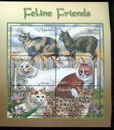 UGANDA   1716 MINT NEVER HINGED MINI SHEETS OF CATS - Roofkatten