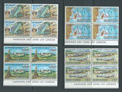 Mauritius 1971 Plaisance Airport & Plane Set Of 4 Harrison Imprint Blocks Of 4 MNH - Mauritius (1968-...)
