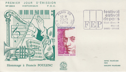 Enveloppe  Flamme  1er  Jour    Francis   PIOLENC    PARIS    1974 - 1970-1979