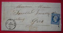 1860 Port Sainte Marie (Lot Et Garonne) Lettre Pour Estang Gers - Postmark Collection (Covers)