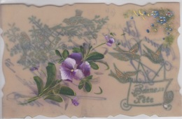 CARTE CELLULOID - RHODOID - PEINTE MAIN - Aquarelle - Fleurs - Cartoline