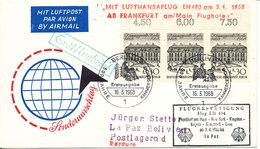 Germany Cover First Lufthansa Flight LH 490 Frankfurt - New York - Kingston - Bogota - Guayaquil -Lima - La Paz 7-4-1968 - [7] Federal Republic