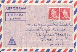 Denmark Aerogramme Sent To Israel Aarhus 14-9-1962 - Luftpost