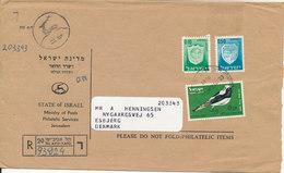 Israel Registered Cover Sent To Denmark 1968 - Israel
