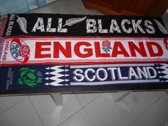 ECHARPE RUGBY  805 LOT DE 3 ECHARPES ENGLAND SCOTLAND ALL BLACKS - Rugby