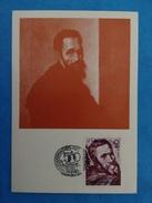 Cartolina Formato Grande Firenza Casa Michelangelo Buonarroti - Autoritratto - Con Annullo E Francobollo Bulgaria - Sculptures