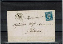 LPUY15/4B - NAPOLEON III 20c ND LAC MANUFACTURE LAINE CH.JACQUEL BADONVILLER / COLMAR 25/9/1859 - 1853-1860 Napoléon III