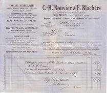 MAINE ET LOIRE - ANGERS - HYDRAULIQUE CHAUDRONNERIE FERBLANTERIE GAZ & LAMPISTERIE - C. H. BOUVIER & F. BLACHERE - 1919 - France