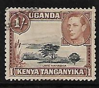 Uganda Kenya Tanganyika British Colony Commonwealth Lake Naivasha George KGVI Used Stamp  #AR:154 - Kenya, Uganda & Tanganyika