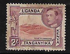 Uganda Tanganyika Kenya British Colony Commonwealth Mountain Kumanjaro George KGVI 2 Shillings Used Stamp  #AR:154 - Kenya, Uganda & Tanganyika