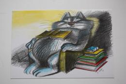 Cat - Bibliophile - Chizhikov - Library - Book Collection  - Modern Postcard - Bibliotheken