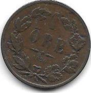 Sweden 1 Ore 1870  Km 705     Fr+ - Suecia