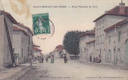 Cpa (colorisée)-69-saint Bonnet De Mure-animée-route Nationale De Lyon-edi Garrioux / Photo Vialatte - Other Municipalities