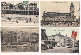Les Gares De Paris En 1900 ; Est, Invalides, Lyon, Montparnasse, Nord, Quai D'Orsay Et Saint-Lazarre - 7 Cartes - - Métro Parisien, Gares