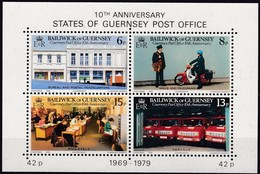 Guernsey, 1979, 195/98 Block 2, 10 Jahre Unabhängige Postverwaltung. 10 Years Post Office. MNH ** - Guernsey