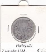 PORTOGALLO   5  ESCUDOS   ANNO 1933  COME DA FOTO - Portogallo