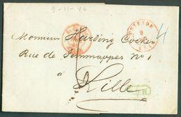 LAC D'OSTENDE Le 12 Avril 1846 + Griffe Verte B.3.R. Vers Lille  - 12112 - 1830-1849 (Belgique Indépendante)