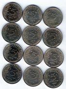 Lot De 12 Pièces De 5 Centimes De 1971-1972-1973-1974 Chouette-1984-1992 -4 Plis- En T B Et En T T B - S U P - Kilowaar - Munten