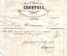MAINE ET LOIRE - ANGERS - PARAPLUIE , MARCHAND DE PARAPLUIES , FAIT ET RACCOMODE ........ - COURTOIS - 1856 - 1800 – 1899