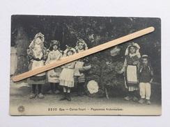 """SPA """" CORSO FLEURI """" Paysannes Ardennaires """" Petites Filles En Costume Pour Le Défilé (1914) G.HERMANS Nº 2220. - Manifestations"""