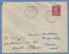 Bureau Temporaire BT Foire Exposition Grenoble 1937  / N° 190 - Marcophilie (Lettres)