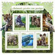 Guinea Bissau 2017, Animals, Tiger, Rhino, Turtle, Leopard, 5val In BF IMPERFORATED - Rhinozerosse
