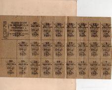 RATIONNEMENT 1918) TICKETS DE PAIN AVRIL 1918 BONS à DECOUPER 100 Grammes 7 Au 29 Avril - 22x12 -collé Sur Support - Alimentos