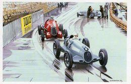 Grand Prix De Monaco 1936  -  Carraciola (Mercedes) Et Nuvolari (Alfa)  -  Art Carte Par Benjamin Freudenthal - Grand Prix / F1