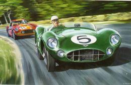 24 Heures Du Mans 1959  -  Aston Martin DBR1  -  Roy Salvadori  -  Art Carte Par Benjamin Freudenthal - Le Mans