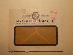 Marcophilie  Cachet Lettre Obliteration Timbre - Publicité GALERIES LAFAYETTE 1933 (1105) - Marcophilie (Lettres)