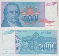 YUGOSLAVIA 5000 Dinara 1994 P-141 UNC  ZA ( Replacement ) RARE - Yugoslavia