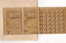 RATIONNEMENT 1914-1918) FLEURANCE (32) CARTE INDIVIDUELLE D'ALIMENTATION-CATEGORIE T -COUPONS AVRIL à SEPTEMBRE 3 VOLETS - Alimentos