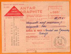 BORDEAUX    ANTAR GRAPHITE POUR LA SECURITE DE VOTRE MOTEUR      1960 Carte  N° FF 902 - Marcophilie (Lettres)