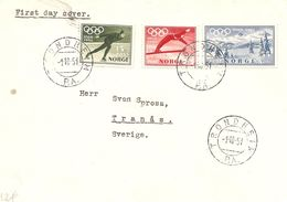 1951 FDC Jeux Olympiques D'Hiver OSLO (Trondheim) - Winter 1952: Oslo
