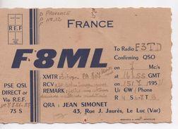 CPA.Carte QSL.1952.radio Amateur.F8ML.Jean Simonet Le Luc - Radio Amateur