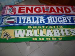 ECHARPE RUGBY  804 LOT DE 3 ECHARPES ENGLAND ITALIA WALLABIES - Rugby