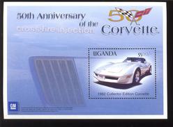 UGANDA   1820  MINT NEVER HINGED SOUVENIR SHEET OF CARS  (   CORVETTE - Auto's