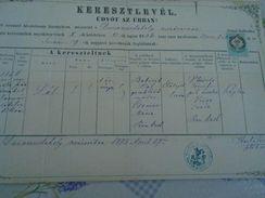 AD037.20 Old Document -Slovakia Dunaszerdahely -Dunajska Streda - Pal Babirad - Maria Csomor - 1875 - Geburt & Taufe