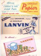 Lot De 3 Buvards Chocolat. Lanvin, Pupier. - Buvards, Protège-cahiers Illustrés
