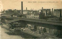 Cpa PARIS XIX Les Entrepôts De La Villette - Péniches - - Arrondissement: 19