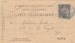 11 11 1896 CARTE-TELEGRAMME 30c CHAPLAIN NOIRE. OBLITERATION BLEUE PARIS FRIEDLAND POUR 217 RUE LAFAYETTE - Pneumatic Post