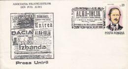 5627FM- LIBERTY, ROMANIAN, DACIA, UNION, ALBA IULIA, THE TRIUMPH NEWSPAPERS, JOURNALISM, SPECIAL COVER, 1993, ROMANIA - Berufe