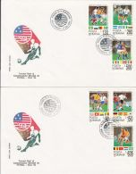 5640FM- USA'94 WORLD CUP, SOCCER, COVER FDC, 2X, 1994, ROMANIA - World Cup