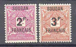 Soudan: Yvert Taxe N°9/10*et Gomme Tropicale; Cote 20.00€ - Soudan (1894-1902)